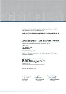 Zertifikat Badplaner
