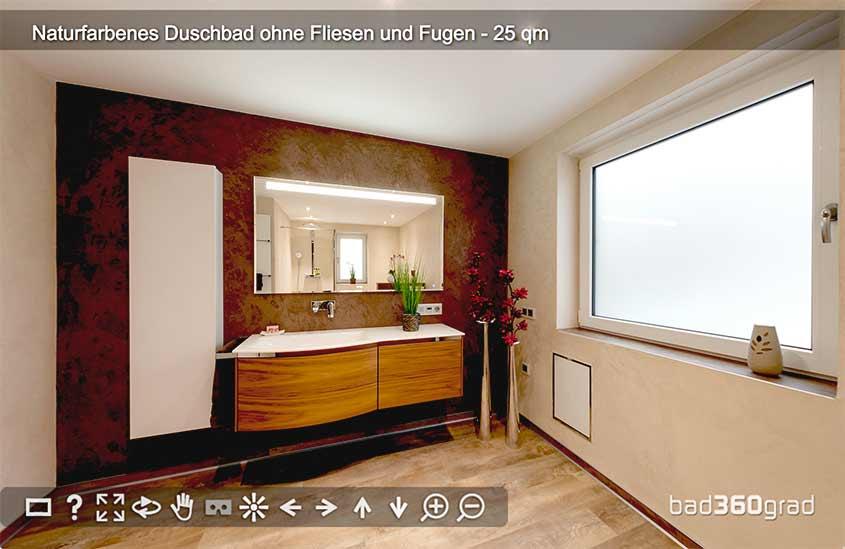 Bad in ehemaligem Hausarbeitsraum ohne Fliesen und Fugen 360-Grad Vorschau