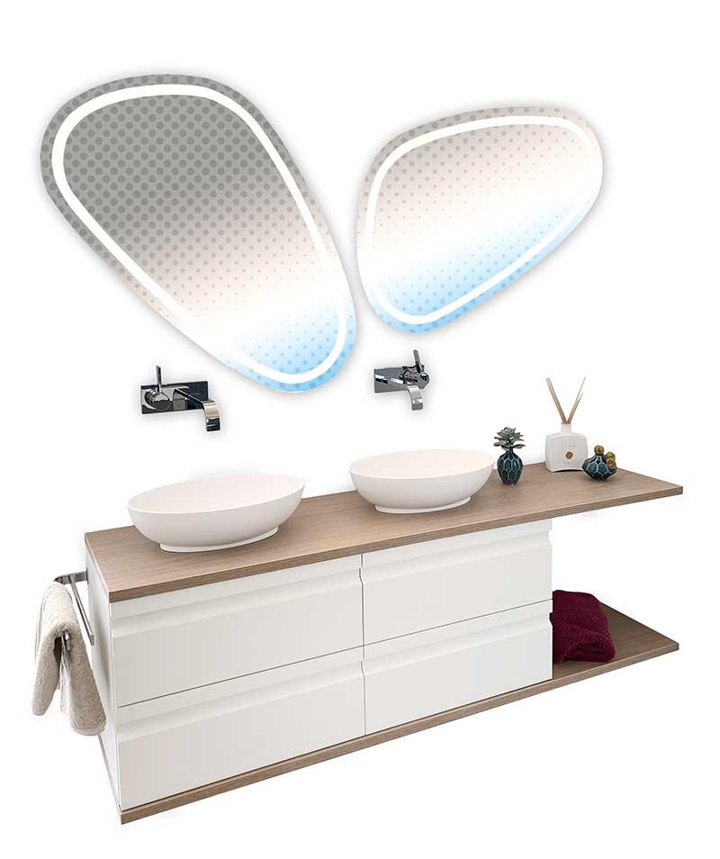Badmöbel mit zwei Waschschalen