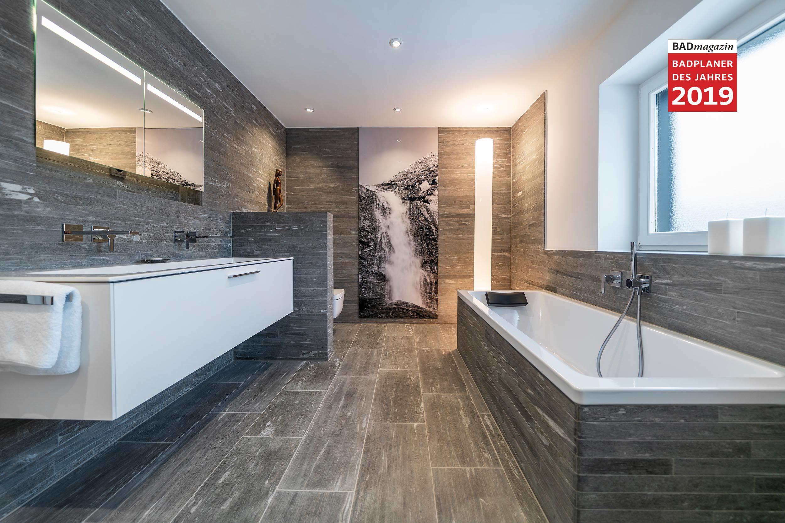 Badezimmer mit Stein aus Valser Quarzit von Zitzelsberger